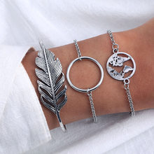 Fashion Vintage Silver Color Big Leaf Loop Map Charm Bracelets Bangles For Women Ladies Friendship Chain Bracelets Boho Jewelry(China)