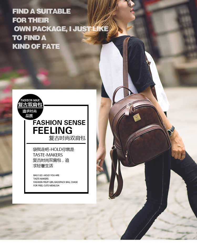 2016 Fashion Vintage Black PU Leather Backpacks For Women Preppy Bookbag New Cheap Designer Backpack Brand Couro Mochilas Mujer (1)