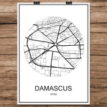 DAMASCUS Syria Famous World City Street Map Print Poster Abstract Coated Paper Cafe Living Room Home Decoration Wall Sticker(China)