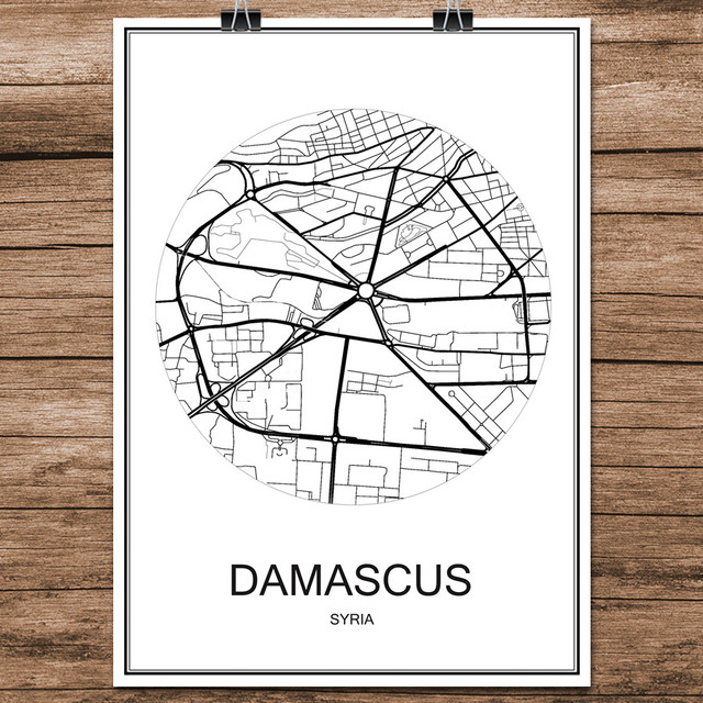 Damascus Syria Famous World City Street Map Print Poster Abstract