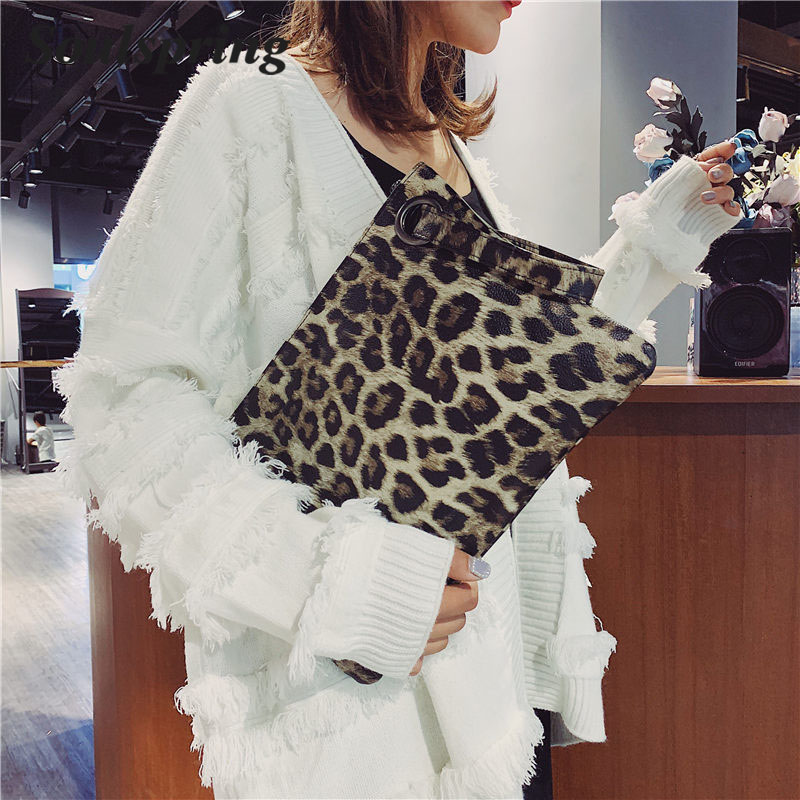 5224631ef7553 2018 Hot Fashion Ladies Ultra Thin Day Clutch Party Bags Women s Leopard  Pattern Handbag Female PU Leather Envelope Big Handbags