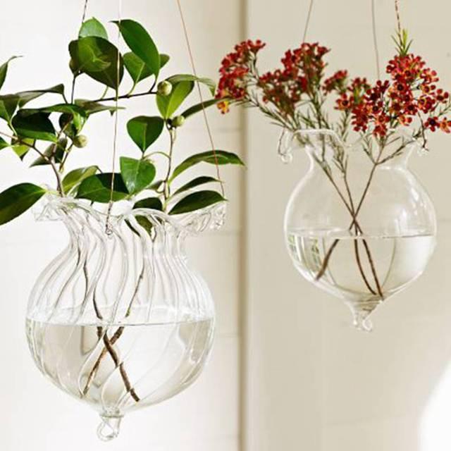 Lotus Glass Vase Terrarium Vases Flower Pots Hanging Glass Candle