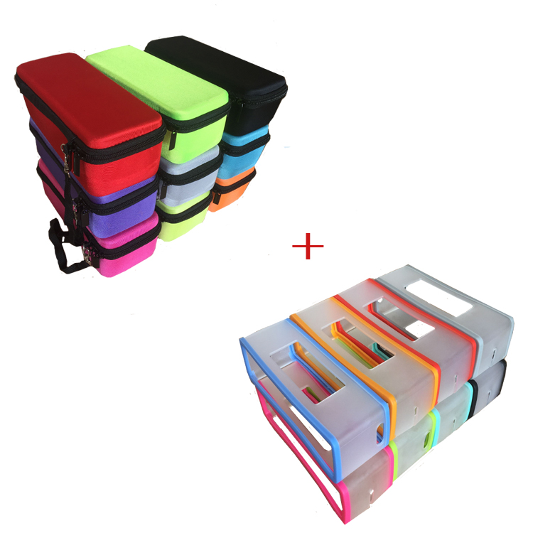 2 In 1 Color Hard EVA Carry Zipper Storage Box Bag+ Soft Silicone Case Cover For Bose Soundlink Mini 1 Mini 2 Bluetooth Speaker