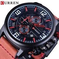 CURREN 2018 Red Genuine Leather True Men Fashion Series Watches Waterproof Clock Men Sport Watch Top