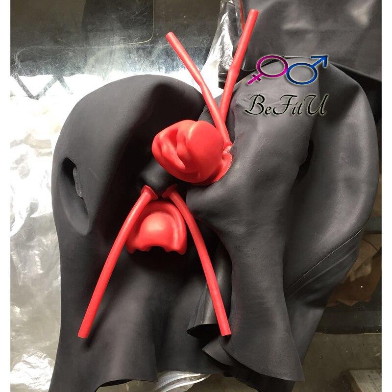 Лидер продаж! Латексная новая анатомическая 3D маска с ушками шапочки с красным ртом для губ оболочка язык длинный нос трубка сверхмощный 2 р...