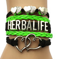 Drop Shipping  Herbalife Double Heart Charm Bracelet- Handworked Cosmetics Friendship Leather Strap Wristbracelets