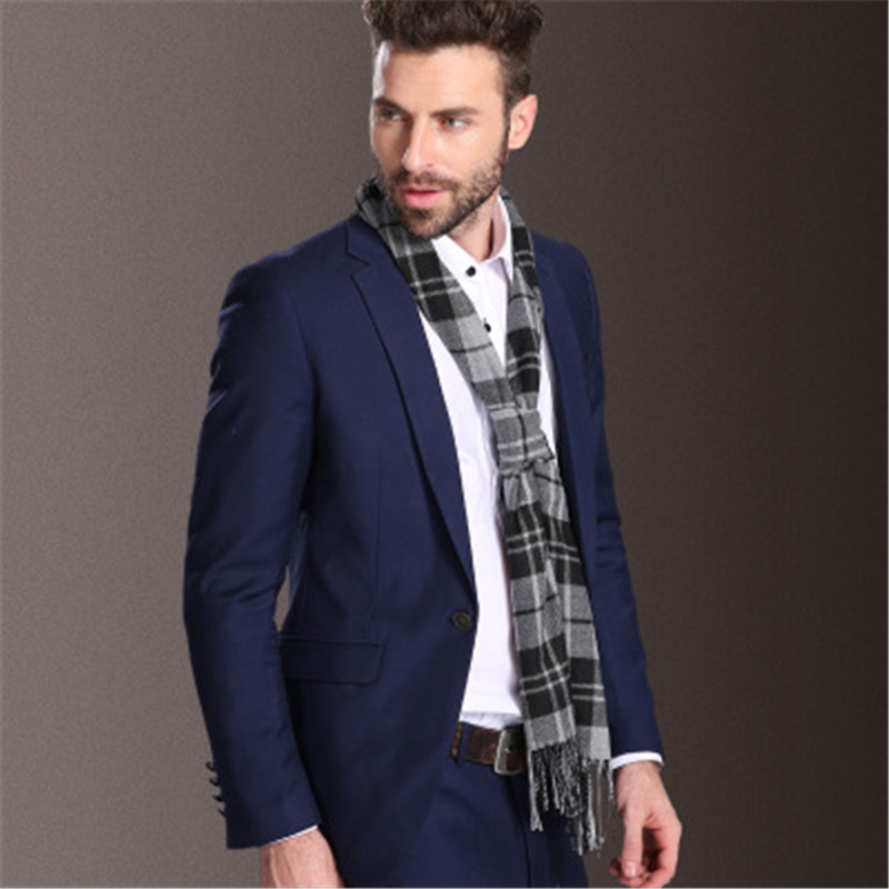 2017 Autumn Winter Hot Sell New Style Fashion Design high quality Men Grid Plaid 35 160cm size soft warm cashmere tassel scarf in Men 39 s Scarves from Apparel Accessories