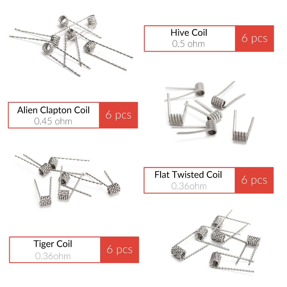 48pcs Coil Father 8-in-1 Prebuilt Coil Fused Alien Clapton Hive Flat Twisted Tiger Quad Electronic Cigarette Vape Wire Accessory