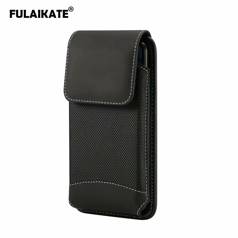 FULAIKATE Matte Cloth Universal Phone Bag for Xiaomi MI Max2 Waist Pouch for Huawei Honor 8X Max Business Sport Pocket for Note9