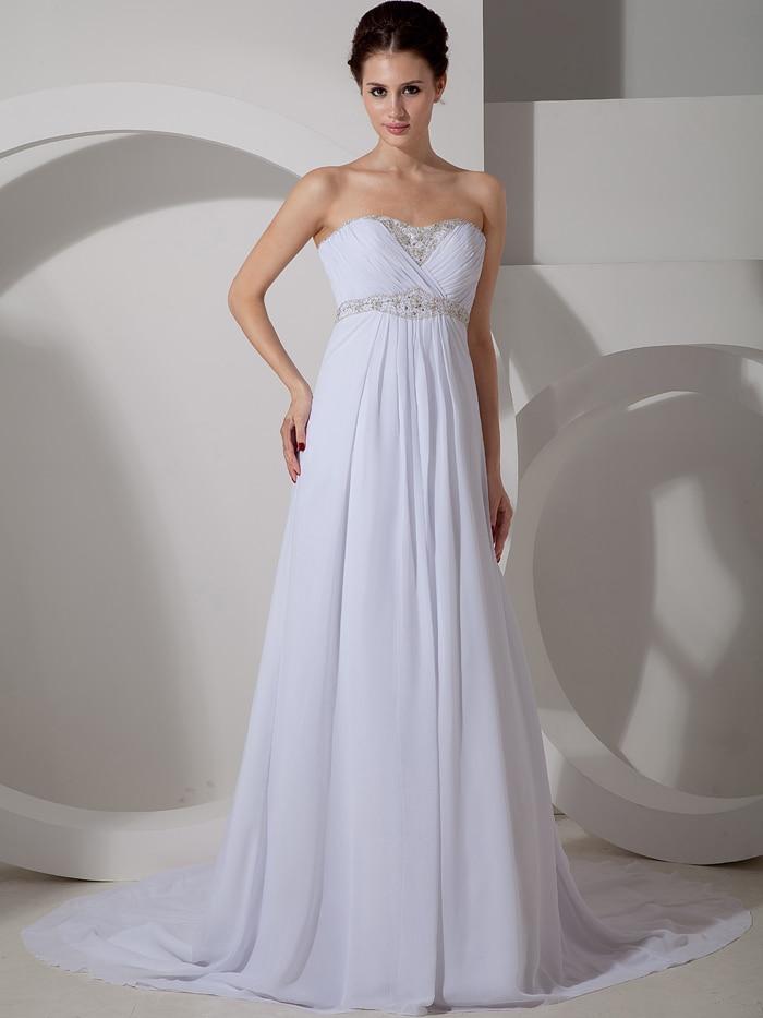 2016 maternity chiffon empire waist beach wedding dresses for Wedding dresses not strapless