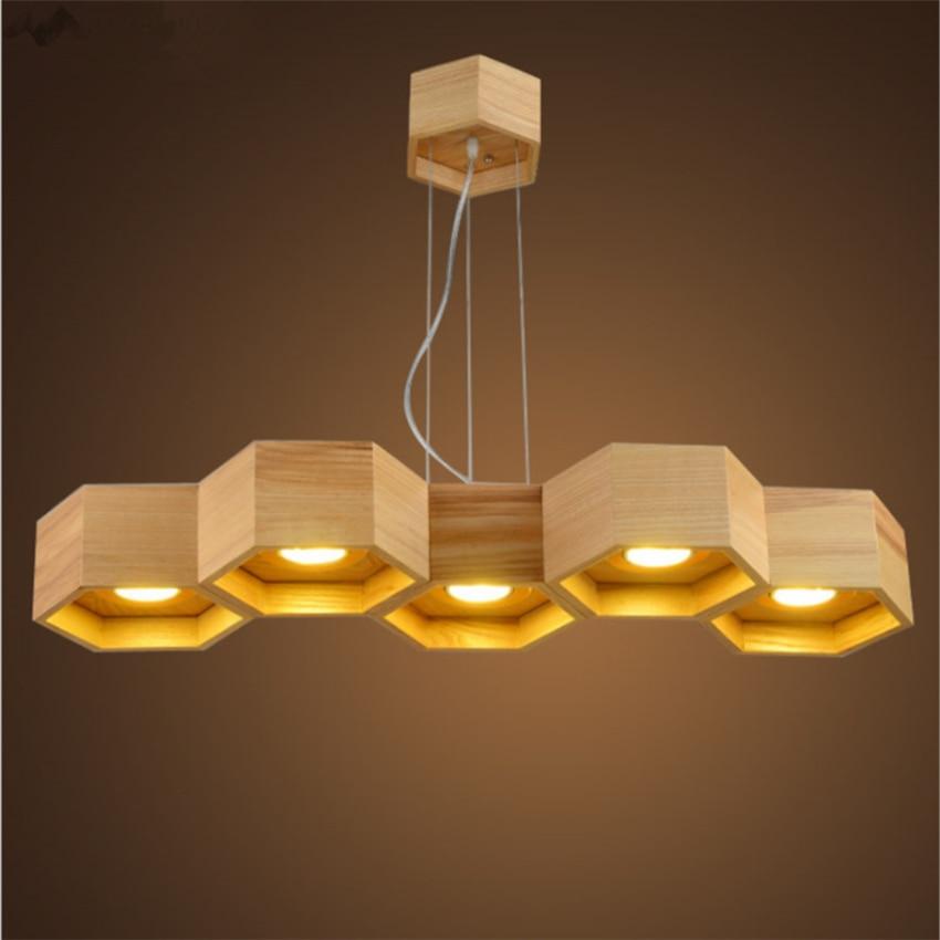 Honeycomb Pendant Light: JW_Modern LED Honeycomb Shape Pendant Lights Wood Lighting