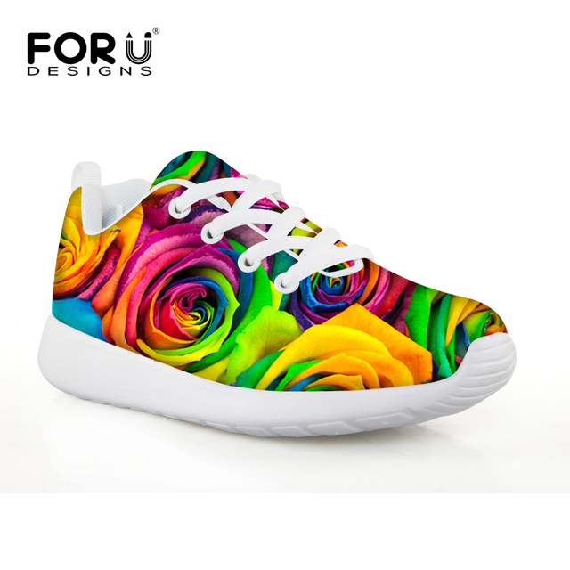 FORUDESIGNS Rainbow Rose Fitness Sport Sneakers for Kids Girls Lace Up Anti  Skip Breathable Running Shoes Printing Mesh Shoe 0b2160f56