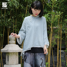 Outline Women Solid Cotton Tops Vintage Flare Sleeve Stand Collar Button Irregular Loose Casual Summer Blouses Shirts S171Y002
