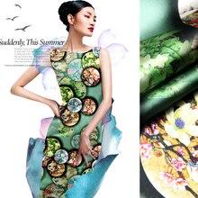 Дженни история шелк Ткань шелковая ткань фунтов стрейч атласа Cheongsam изумрудно-зеленый материал ФАРФОР []