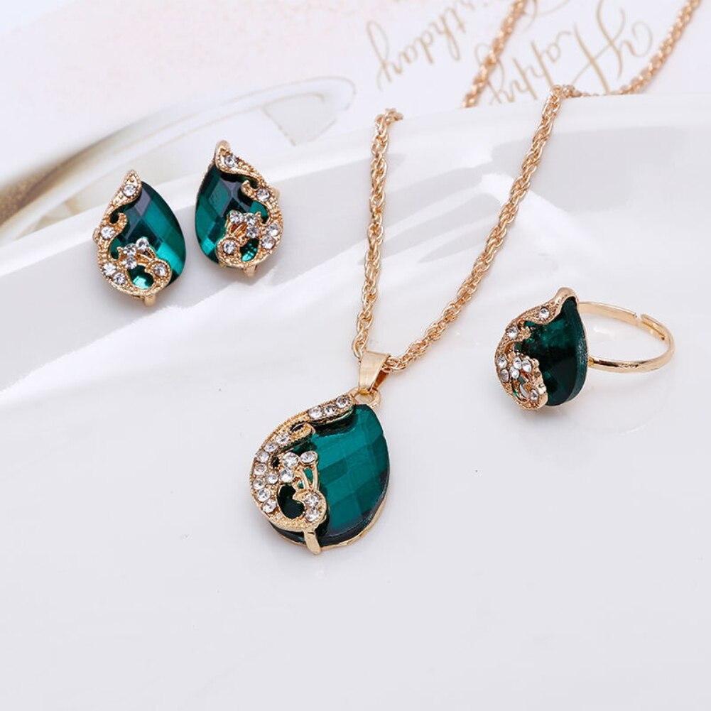 נשים תכשיטי סט מבריק מים Drop צורת ריינסטון שרשרת עגילי טבעת מתנה טווס קריסטל קוריאני תכשיטי סט