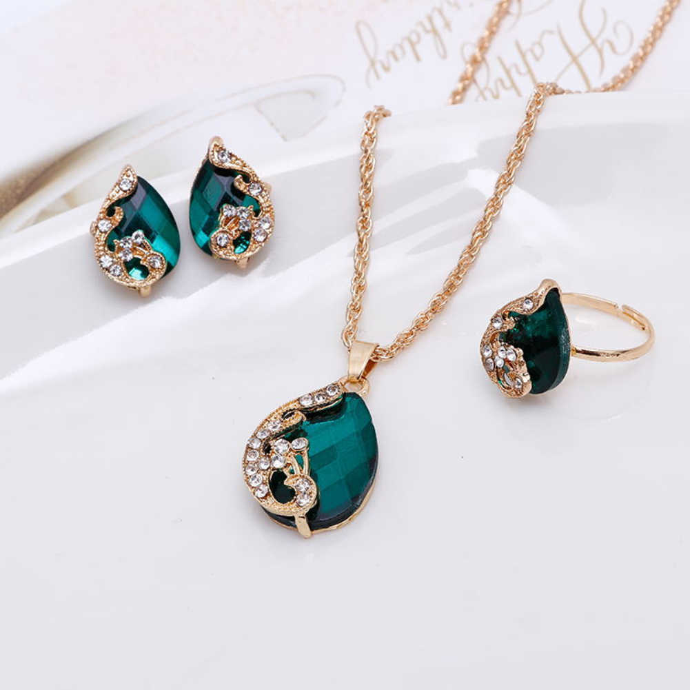 Women Jewelry Set Shiny Water-Drop Shape Rhinestone Necklace Earrings Ring Gift Peacock Crystal Korean Jewelry Set