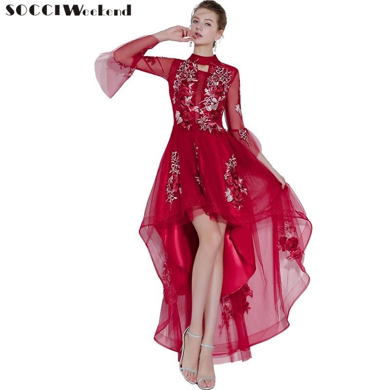SOCCI выходные 2018 Новый асимметрия бордовый вышивка кружево вечернее платье 3/4 рукава Здравствуйте/Low элегантные вечерние платья Robe De Soiree