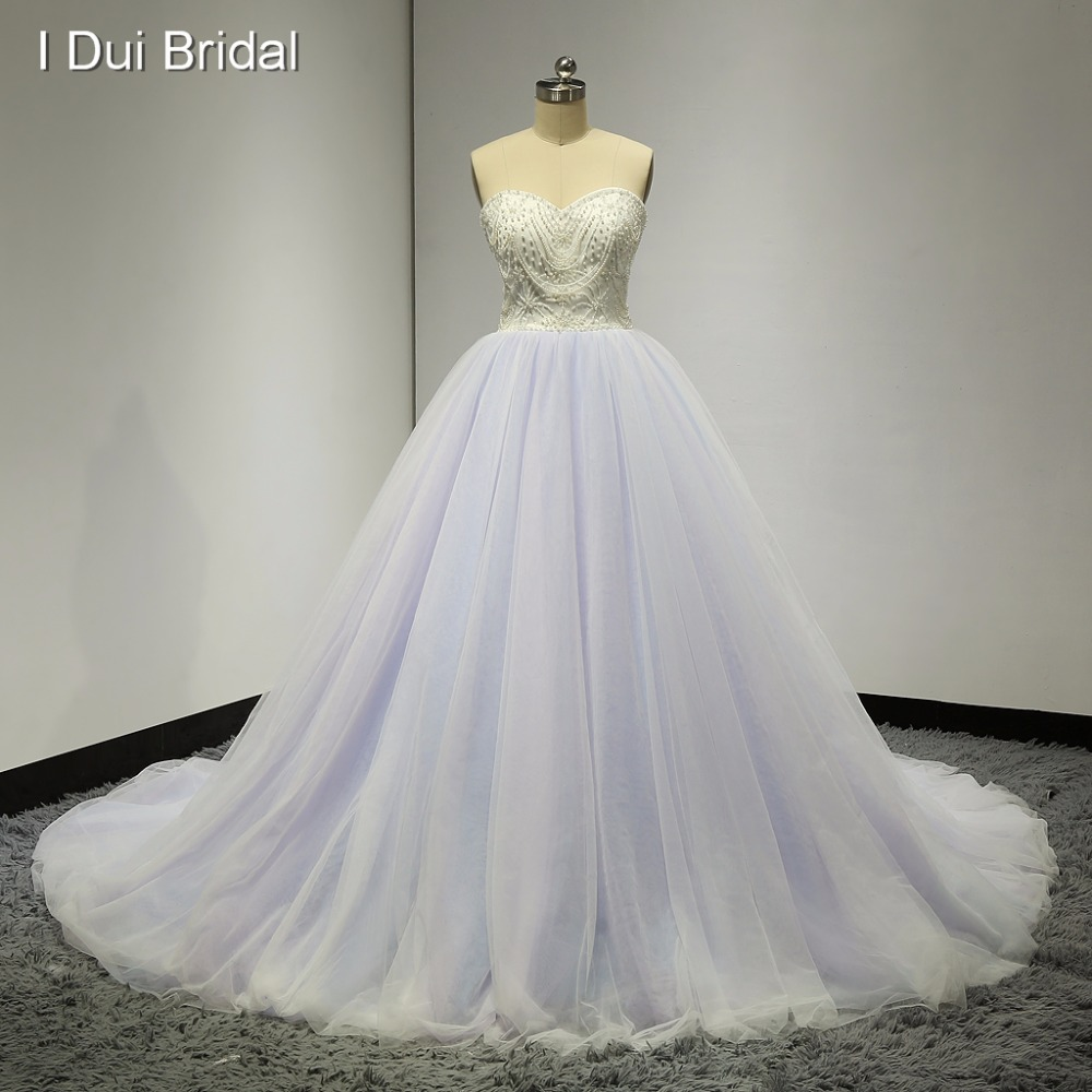 Sweetheart Ball Gown Pink Blue Purple Colored Wedding Dresses Real ...