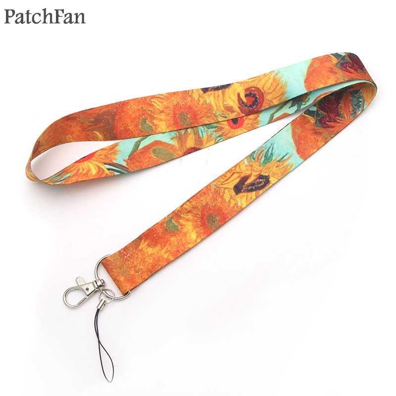 5 Gaya Patchfan Lukisan Van Gogh Starry Night Bunga Matahari Lanyard untuk Kunci Ponsel Gantungan Kunci Nama ID: Pemegang Lencana A0246