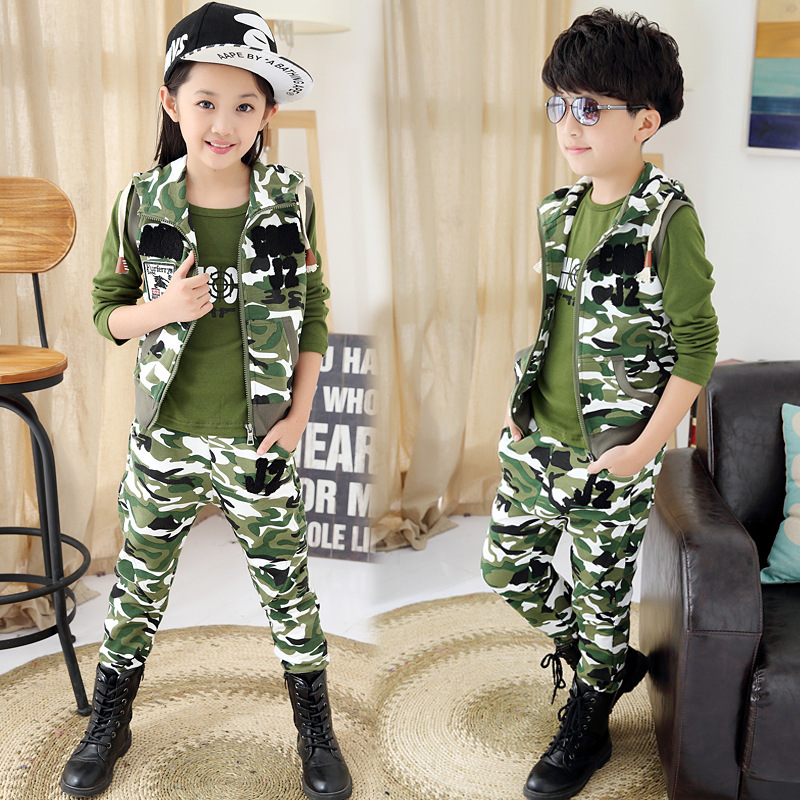 ФОТО Girls Clothing set Autumn Boys Clothes Sport Camouflage Vest Shirt Pants 3pcs Children Clothing Set 5-13T Kids Clothes Tracksuit