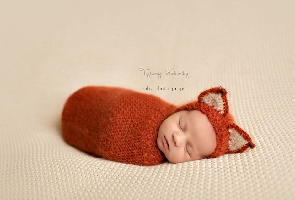 Knitted Baby Animal Bonnet and Wrap Set Crochet Baby Swaddle Cocoon Fox Hat  Infant Hat Neborn Outfit Photography Props -in Hats   Caps from Mother    Kids on ... fa89710bbeb9