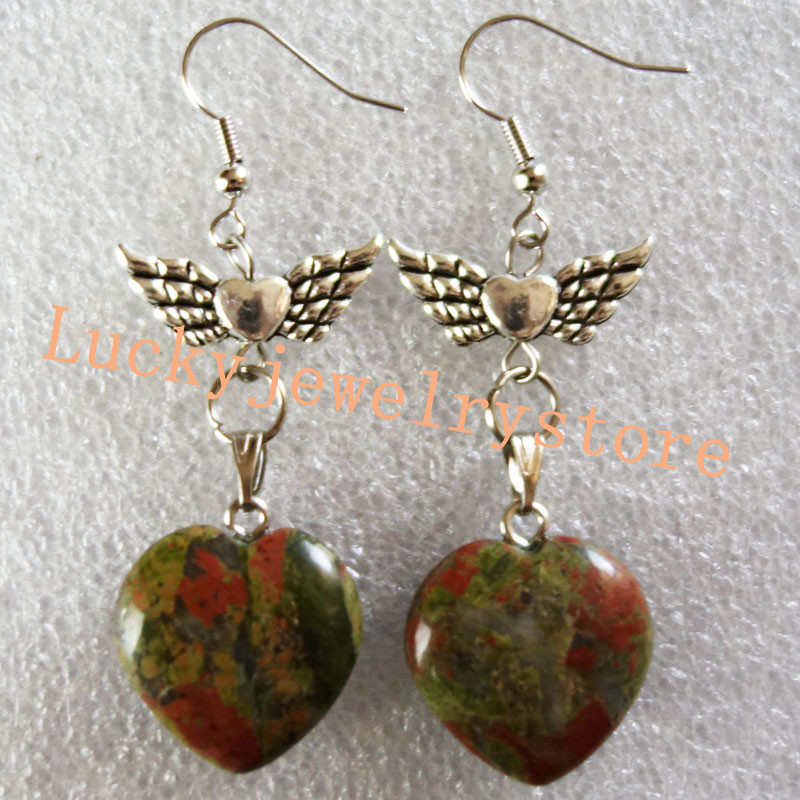 Yuteng A Pair of 20x18x7mm Unakite Gem Heart & Tibet silver Wing Earrings DK07