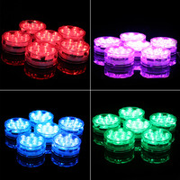 4pcs New Underwater Wireless Remote Control Led Multi Color Spotlight Multi Color Submersible 10LED Light Waterproof