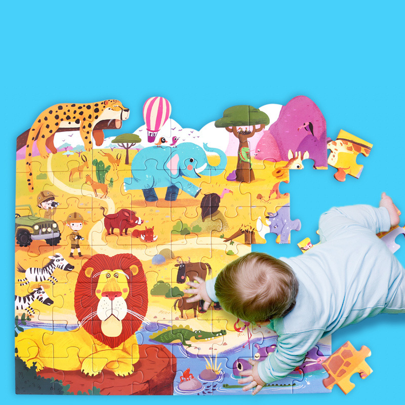 Grand Puzzle en papier pour enfants boîte-cadeau en papier en bois Puzzle d'apprentissage précoce Puzzle d'apprentissage précoce Puzzle Animal cadeau pour enfants