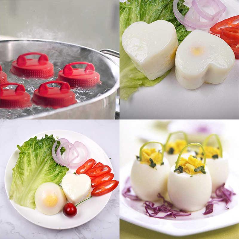 6 pçs/set Cozinha Red Silicone Copo de Ovo Fabricante de Ovo Fogão Ferramentas Mold Fácil Cozinhar Rígido ferva Ovos Sem Casca caçador de ovo Caldeira