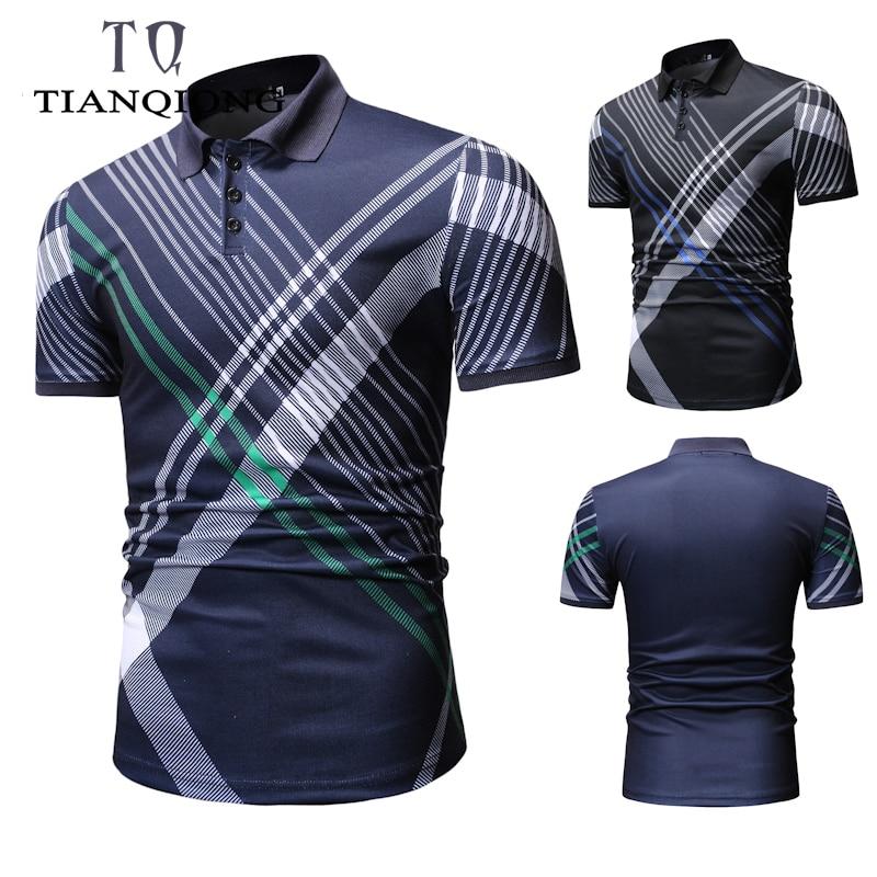 f9a3620227a3 2019 nueva camiseta Polo ajustada a la moda para hombre Polo para hombre  con manga corta Botón de ...