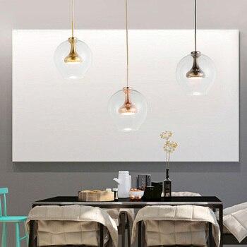 Nordic Glas Hanglamp Geborsteld Brons Afwerking Moderne Industriële Hanger Opknoping Lichtpunt Dining Bar Cafe Restaurant