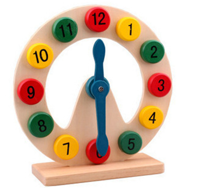 New wooden toy Color digital clock Moon Clock abay early education toy Free shipping in Blocks from Toys Hobbies