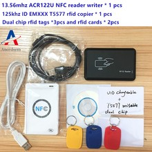 NFC ACR122U HF RFID kart ve 125KHZ kimlik okuyucu yazar çift çatlak klon S50 M1 UID değiştirilebilir EM4100 T5577 RFID kart + kopyalama aracı