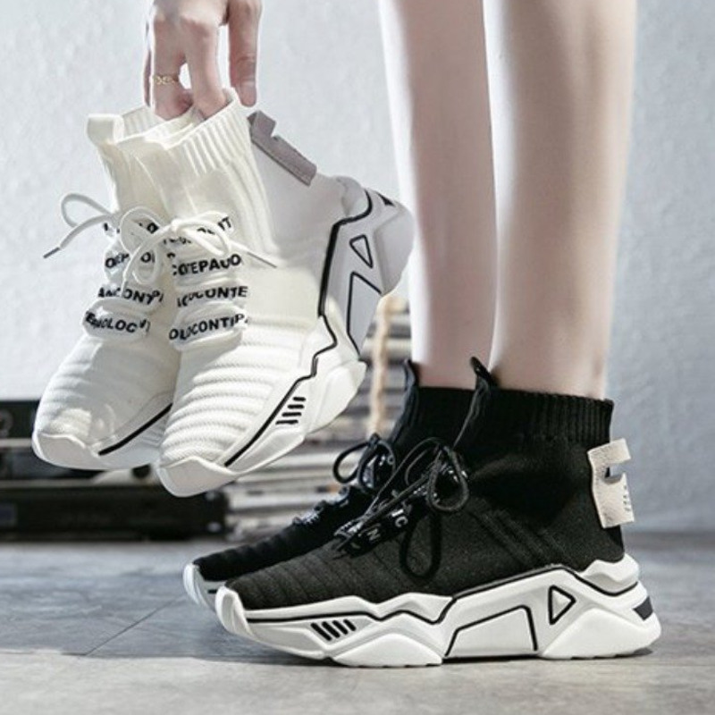 High Top Platform Chunky Sneakers Women Lace-up Stretch Fabric Casual Female Fashion Black White Sneakers Vulcanize Shoes 2019