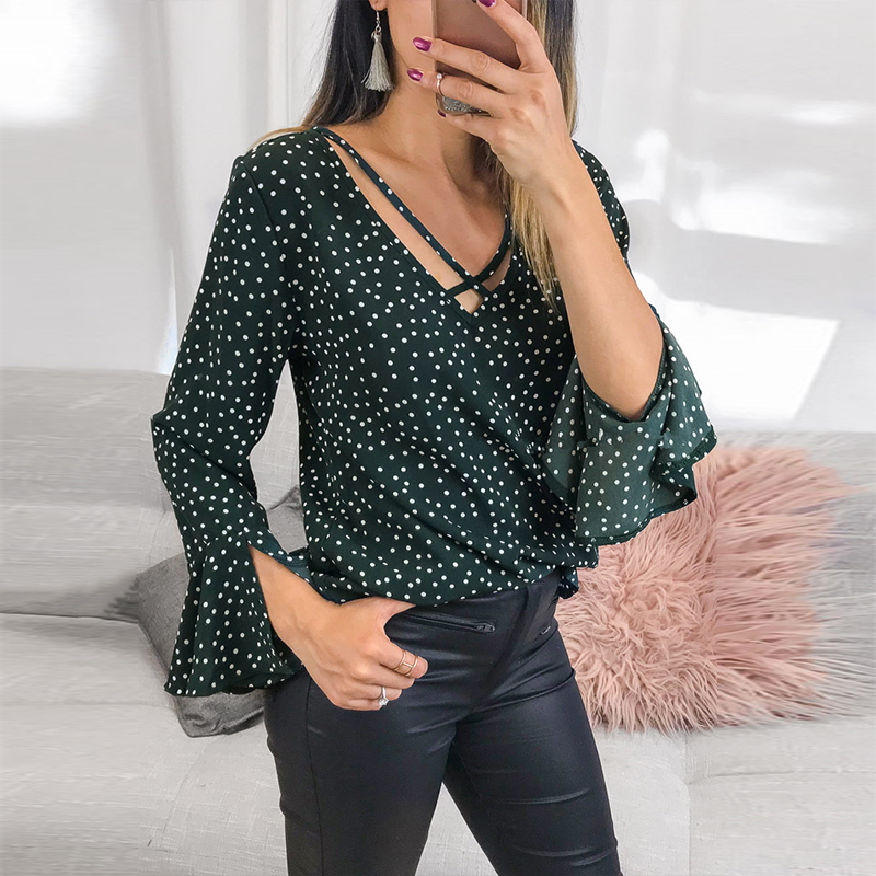 2018 Autumn Fashion Women Sexy Deep V Neck Crossed Long Flare Sleeve Casual Elegant Polka Dot Party Loose   Blouses     Shirts   Tops