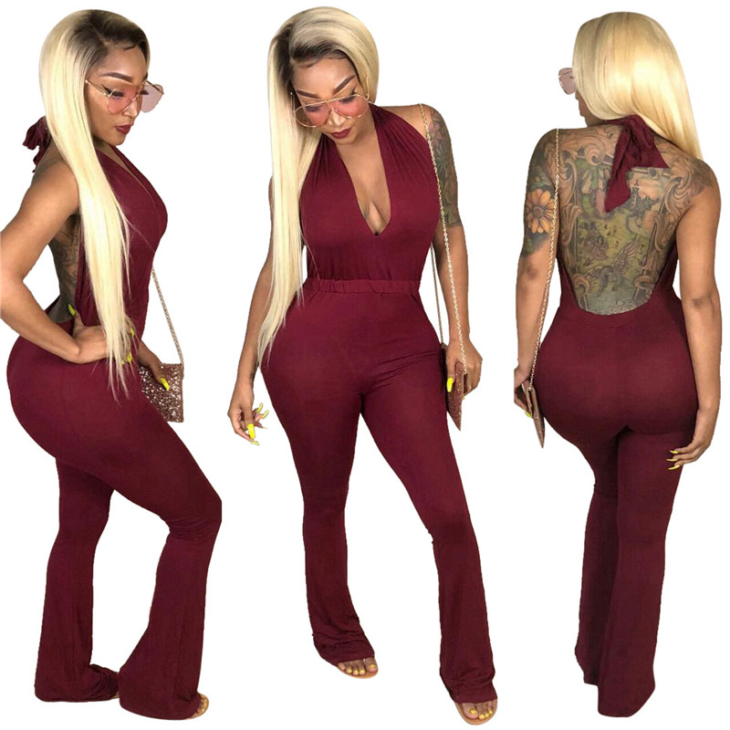 women sexy deep v backless lace-up halter flare pants jumpsuit-11