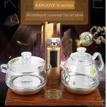 KAMJOVE Intelligent Wood carving electric heating tea art stove kettle boil tea health smart gold rosewood electric tea stove