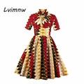 Lvimnw Vintage Dress Зима Осень Многоцветный Цветочные Dress 2016 Женщины 1950 s 60 s Стиле Свинг Платья Вечера Партии Элегантный Dress