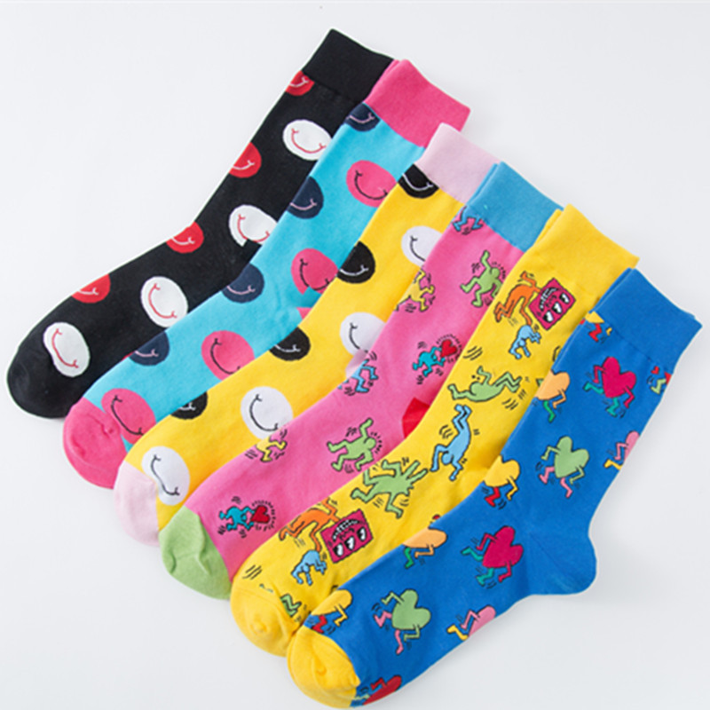 1Pair New Novelty Men Cotton Crew Socks Men Cartoon Hit Color Funny Pattern Happy Tide Male Casual Harajuku Designer Brand