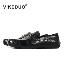 Vikeduo 2019 Handmade Luxury Shoes Fashion Party Casual Designer Moccasins Alligator Genuine Leather Crocodile Skin Men Shoes цены онлайн