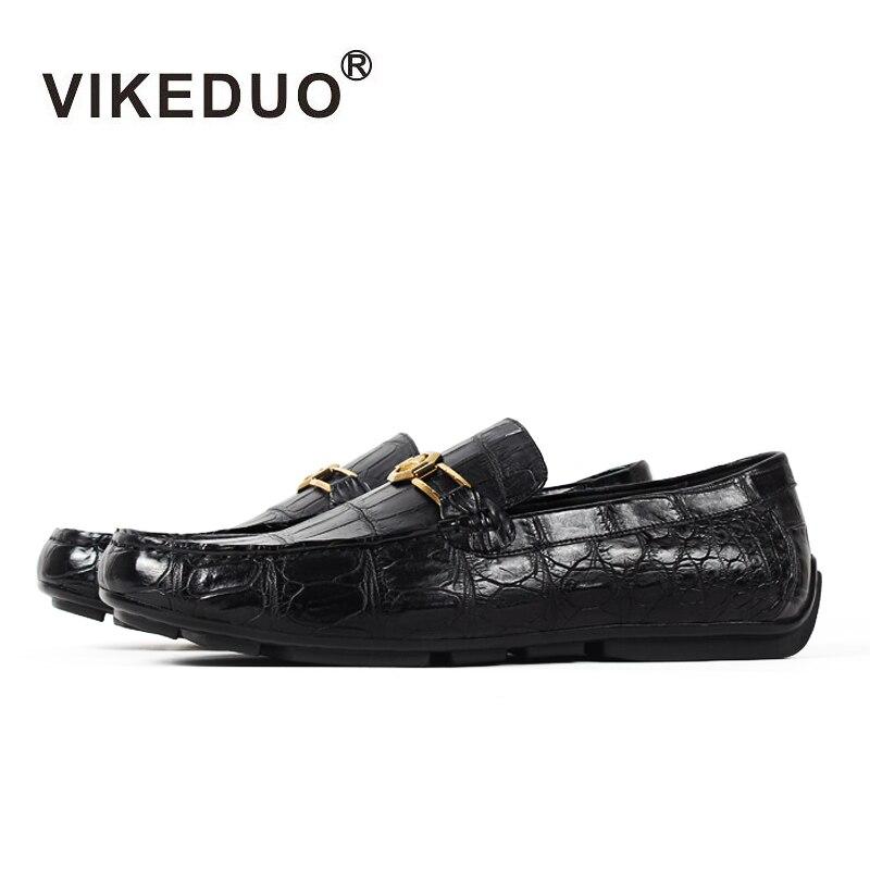 Vikeduo 2019 Handmade Sapatos de Festa Da Moda Casual Designer de Luxo Mocassins Sapatas Dos Homens de Pele de Crocodilo Jacaré Couro Genuíno