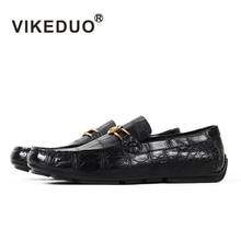Vikeduo 2020 Handmade Luxury Shoes Fashion Party Casual Designer Moccasins Alligator Genuine Leather Crocodile Skin Men Shoes