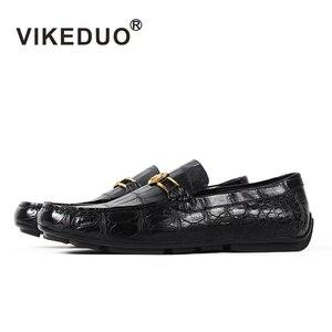 Image 1 - Vikeduo 2020 Handmade Luxury Shoes Fashion Party Casual Designer Moccasins Alligator Genuine Leather Crocodile Skin Men Shoes