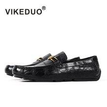 Vikeduo 2020 اليدوية الفاخرة أحذية موضة حفلة عادية مصمم الأخفاف التمساح جلد طبيعي جلد التمساح حذاء رجالي