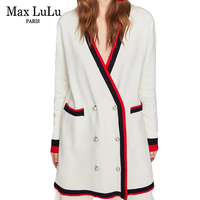 Max LuLu Luxury Pearl Designer 3d Striped Knitted Knitwear Womens V Neck Cardigan Winter Clothing Ladies Christmas Sweaters Pull