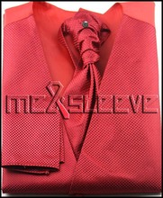 Mens Suit Tuxedo Dress red small dot Vest (vest+ascot tie+cufflinks+handkerchief)