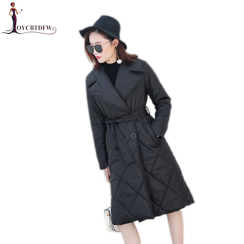 Winter women Down feather jacket 2018 new solid color mid-long outerwear double-breasted Long sleeves warm female overcoat ll711