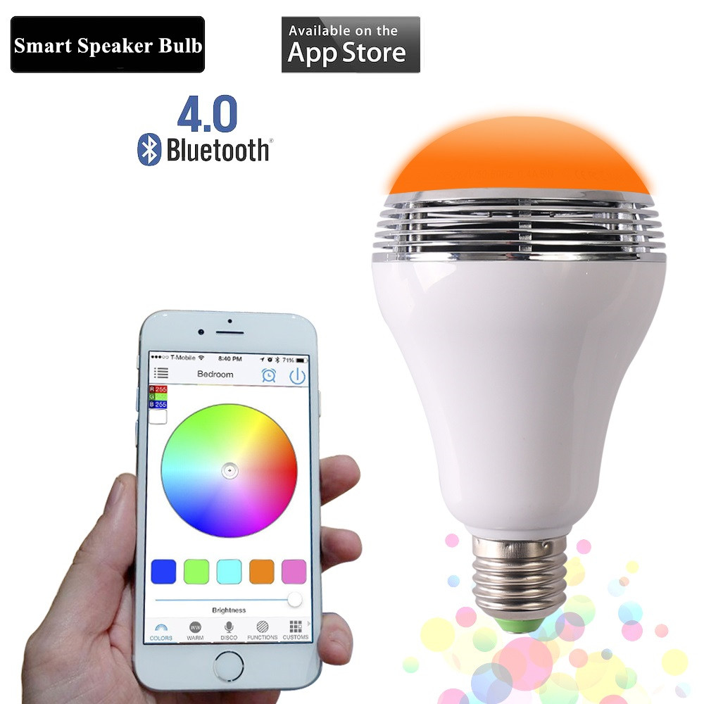 Colorful Smart LED Bulb Bluetooth Speaker LED RGB Light E27 Base Wireless Music Player with Phone APP Remote Control led bulb light lamp supoort wifi bluetooth inner wireless remote control rgb white dimmmable e27 base for ios android phone vr
