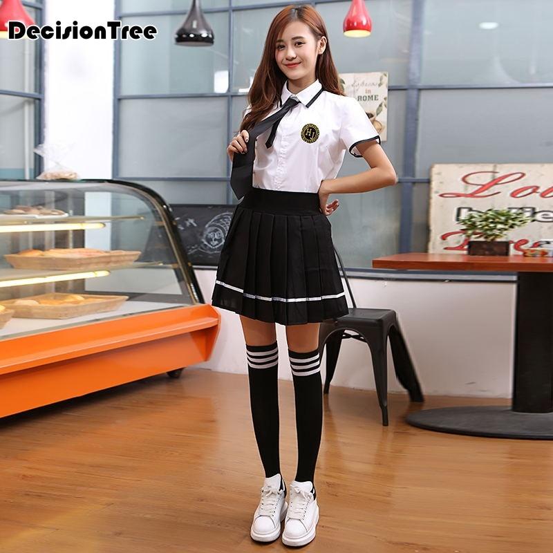 2019 summer Style Women Students Suit Skirt Japanese JK cosplay Cute Female Cotton Uniforms Sets Korean School Girls Uniform