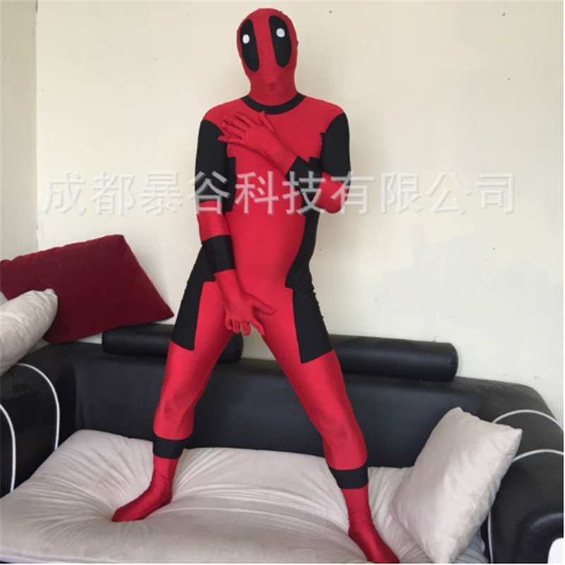 high quality Red Adult Deadpool Zentai Suit Shows Superhero Cosplay Carnival for Party Mandy Halloween Cosplay Full Body Costume